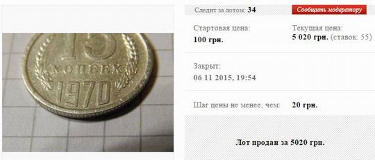 15 копеек 1970 цена