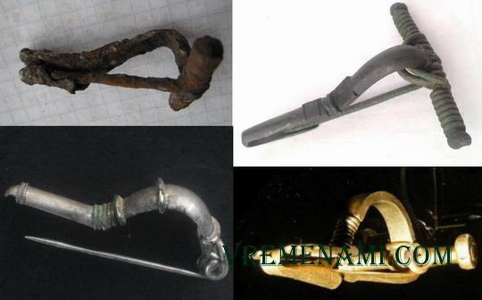 фибулы из разных металлов: железо, бронза, серебро, золото